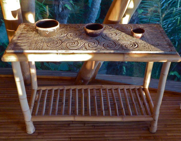 Frangipani carved table