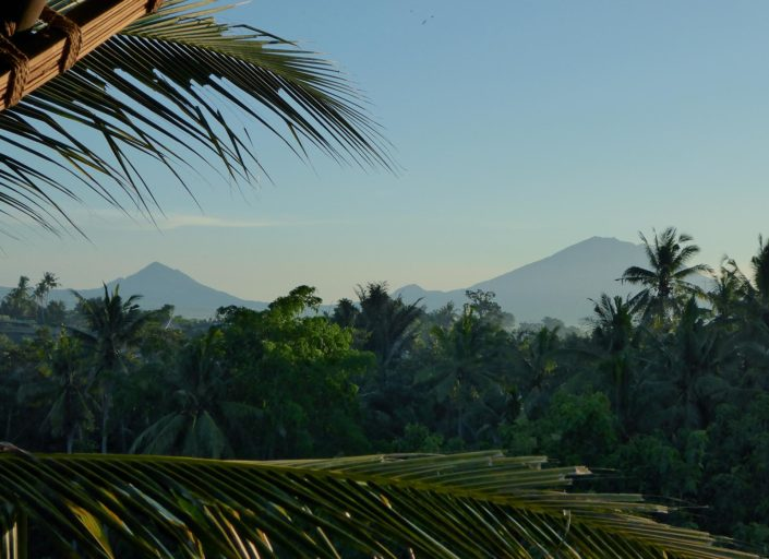 Mt Kintamani (L) and Mt Agung from the Ananda Spa